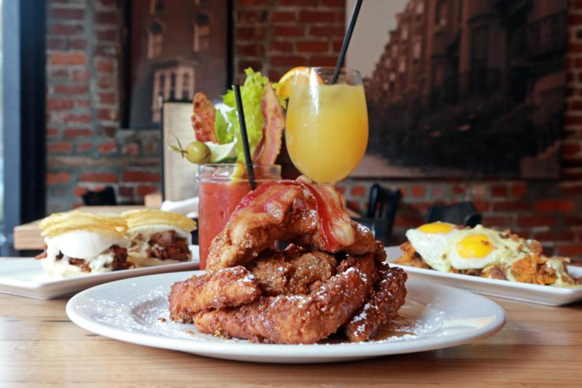 (Boston, MA,11/04/15)   Fried Chicken Crunchy French Toast, Duck Confute Hash and Pulled Pork Benedict  Sunday brunch fixing at Brownstone on Dartmouth Street.      Wednesday,  November  04, 2015.  (Staff photo by Stuart Cahill)